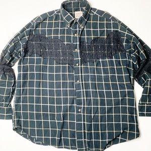 Furst of a Kind LF flannel shirt black plaid lace